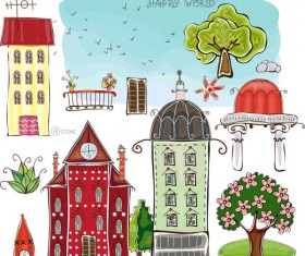 Set of cartoon City elements vector 01