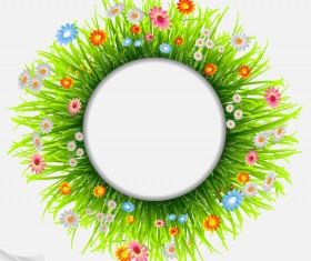 Grass and Flowers Decoration elements vector 01