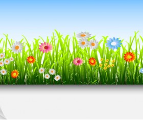 Grass and Flowers Decoration elements vector 03