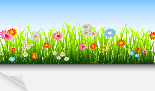 Grass and Flowers Decoration elements vector 03 - Vector ...
