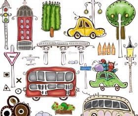 Set of cartoon City elements vector 02