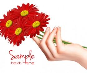 Vivid Chrysanthemum vector background 02