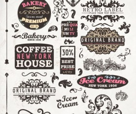 Vintage elements labels and Borders vector 02