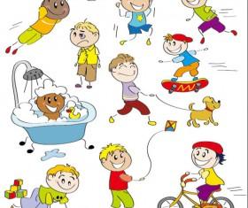cartoon child elements Illustration vector 01