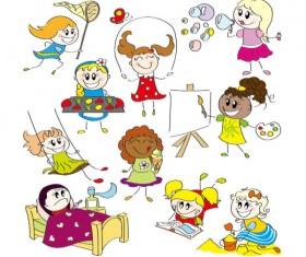 cartoon child elements Illustration vector 02