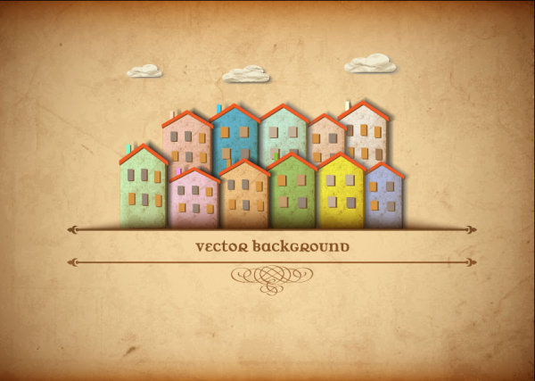 Set of Puzzle House vector background 02