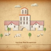 Link toSet of puzzle house vector background 03