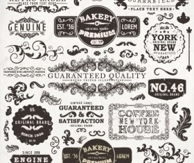 Vintage elements labels and Borders vector 03