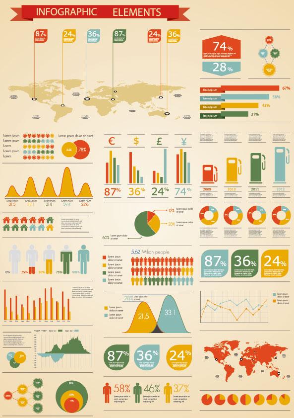 Set of infographics design elements vector 05