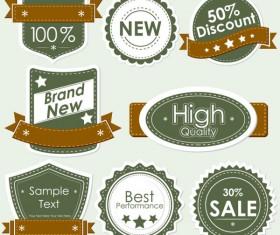 Set of discount label design elements vector 02