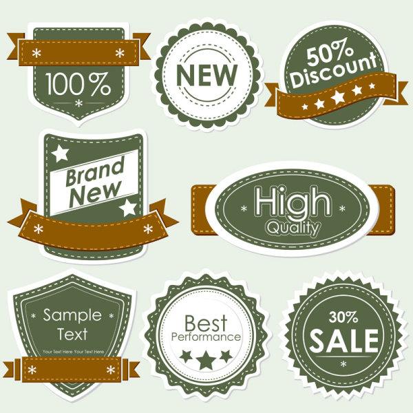 Set of discount label design elements vector 02 free download