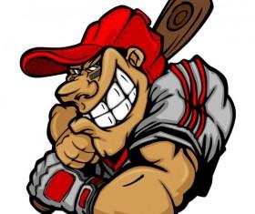 funny cartoon Baseball player vector 01