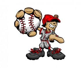 funny cartoon Baseball player vector 03