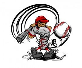 funny cartoon Baseball player vector 04