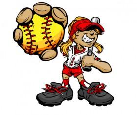 funny cartoon Baseball player vector 05