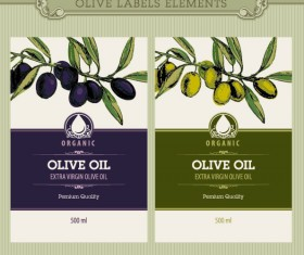 Set of olive oil label Stickers vector 01