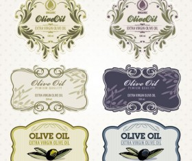 Set of olive oil label Stickers vector 02
