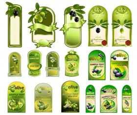 Set of olive oil label Stickers vector 04