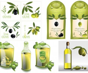 Set of olive oil label Stickers vector 05