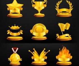 ornate gold medal elements vector 01