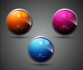 Elements of Shiny Buttons icon vector 01