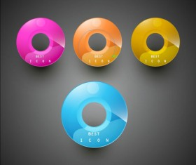 Elements of Shiny Buttons icon vector 02