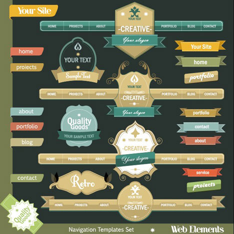 superior Navigation and Buttons web design elements vector 01 ...