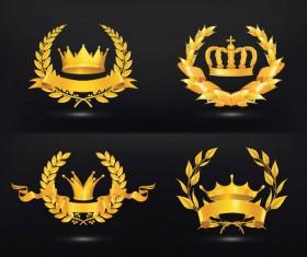 ornate gold medal elements vector 02