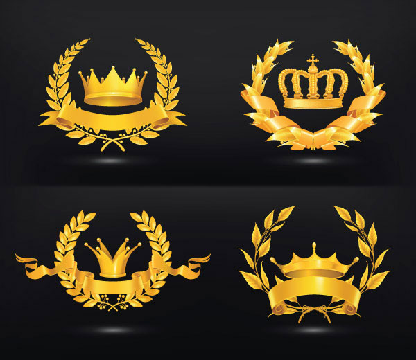 Ornate Gold Medal Elements Vector 02 Vector Label Free