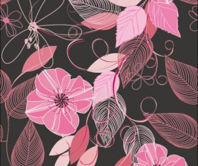 Set of Drawing Seamless Flower Pattern vector 02
