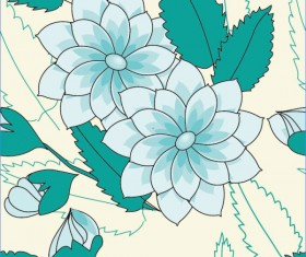 Set of Drawing Seamless Flower Pattern vector 05
