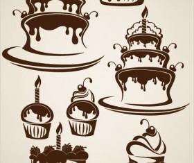 cartoon Cake elements Silhouettes vector