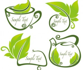 tea Elements Silhouettes vector 01