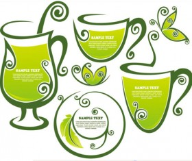 tea Elements Silhouettes vector 02