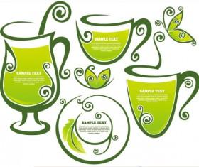 tea Elements Silhouettes vector 02
