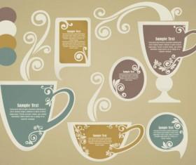 tea Elements Silhouettes vector 04