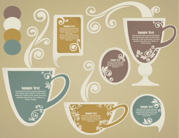 tea Elements Silhouettes vector 04