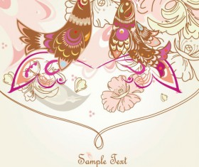 Drawing romantic floral vector background 01