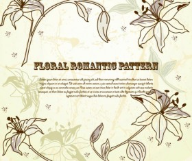 Drawing romantic floral vector background 02