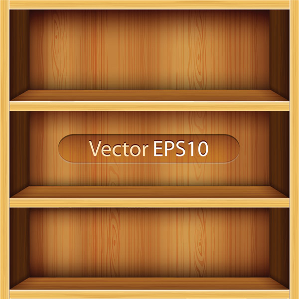 Wood Bookshelf elements vector 01