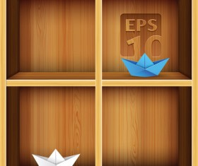 Wood Bookshelf elements vector 02