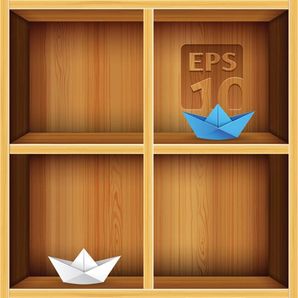 Wood Bookshelf elements vector 02