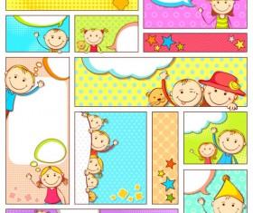 Set of cartoon baby elements vector