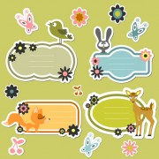 Link toCute cartoon dialogize label vector 03