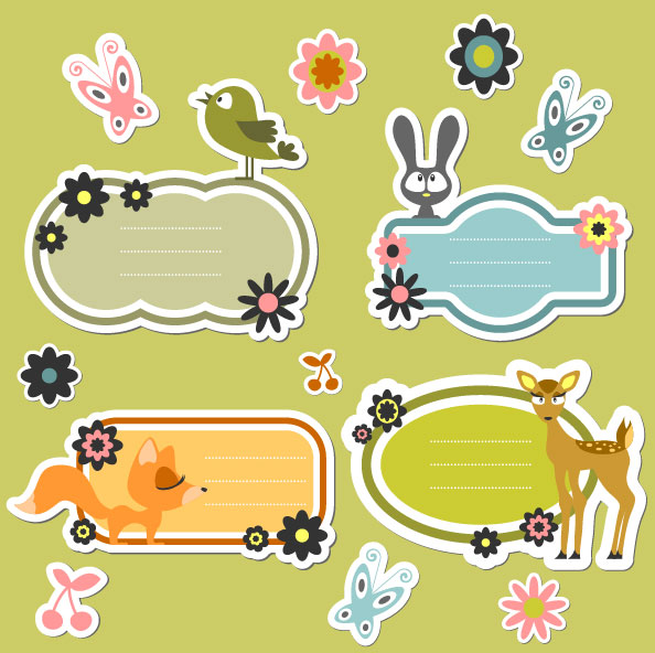 cute Cartoon dialogize label vector 03