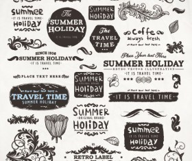 Vintage elements labels and Borders vector 01