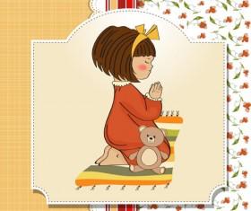 Healthy baby cards vector 01