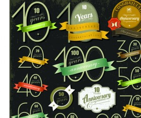 Elements of Anniversary numbers labels vector 01