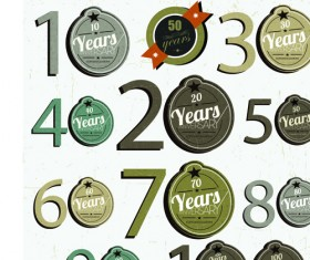 Elements of Anniversary numbers labels vector 02
