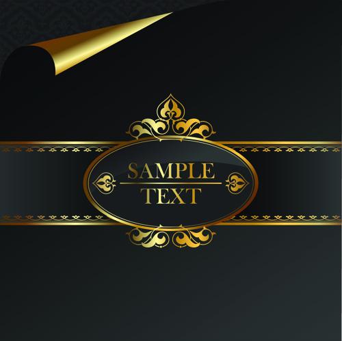 black golden ornate backgrounds vector 04